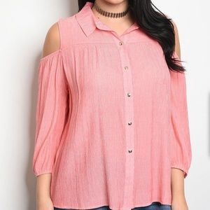Tops - Long Sleeve Cold Shoulder Blouse